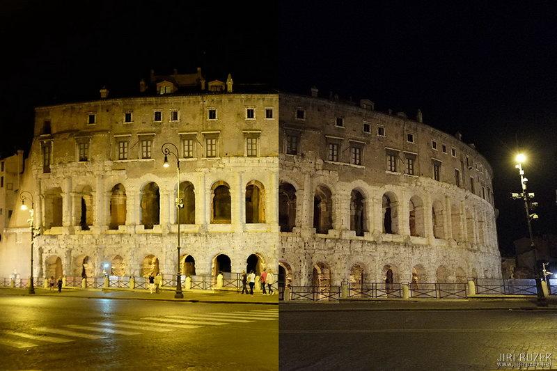 Noční Teatro Marcello - vlevo X100S, vpravo X-E1