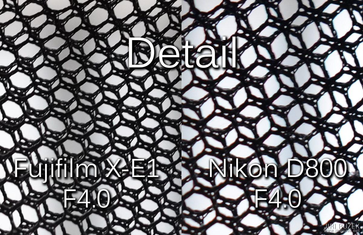 Fuji 56 mm/F1.2 a Nikon 50 mm/F1.4, clona 4.0